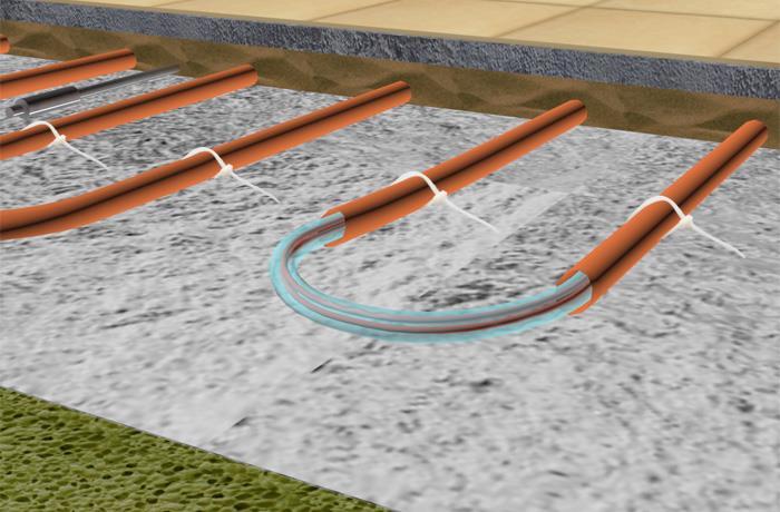 Схема трубок жидкостно электрического теплого пола