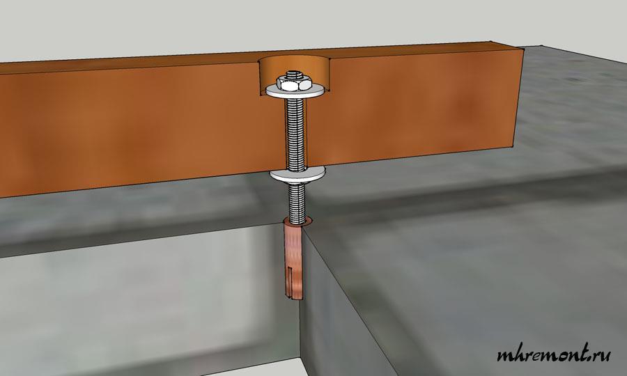 Схема устройства опоры из шпильки.
