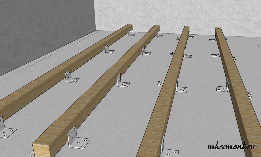 Схема использования уголка для закрепление бруса.