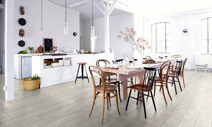 Белый ламинат Villeroy Boch в интерьере столовой в стиле прованс