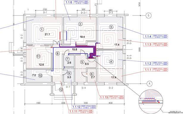 Проект водяного теплого пола. Бетонная система.