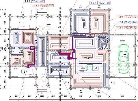 Проект водяного теплого пола для дома из бревна. Монтажная схема. Бетонная система.