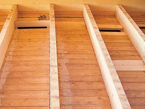 Черновой настил по черепкам - деревянный пол
