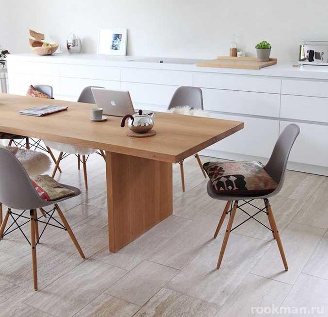 Фото кухни с полом из плитки
