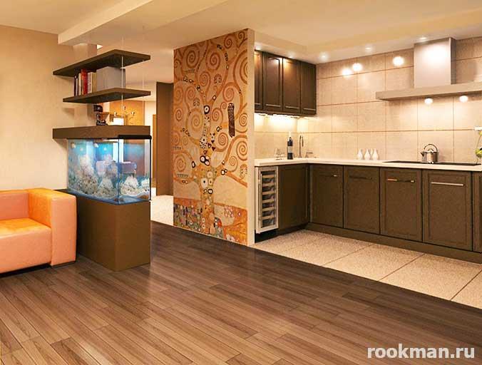 Плитка на кухне граничит с ламинатом в столовой