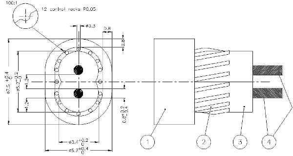 Разрез кабеля греющего ДТИП-18 Девифлекс на чертеже