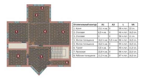 План схема отапливаемых помещений