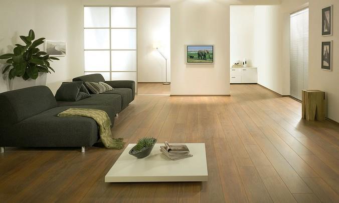 Светлый ламинат Кронотекс в интерьере просторной гостиной