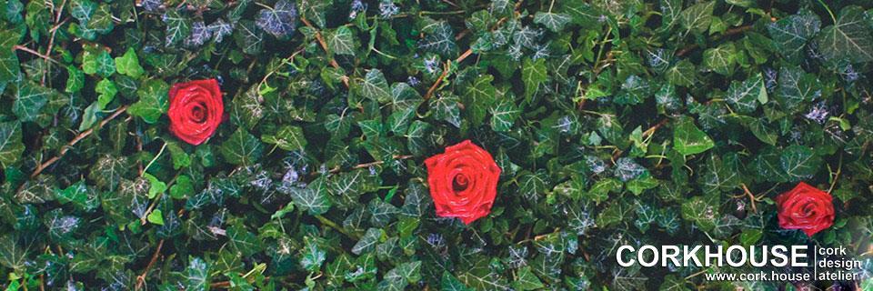 Розы на вашем полу дома, принт нанесен на клеевое пробковое покрытие