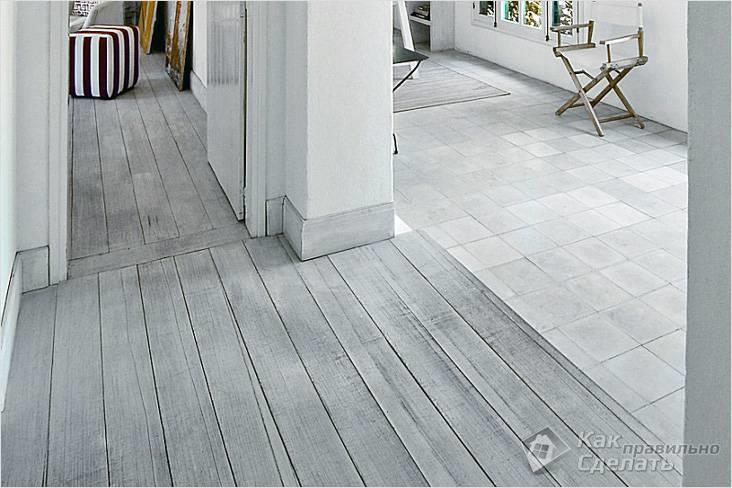 Белый деревянный пол