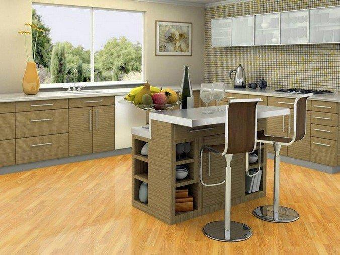 Светлый ламинат 31 класса на кухне в современном стиле