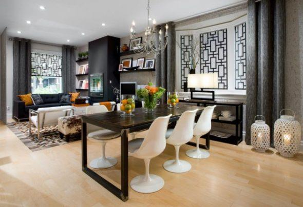 сочетание темного пола и темного потолка уменьшает высоту комнаты