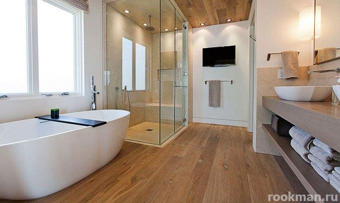 Пример использования в дизайне ванной ламината 33 класса толщиной 12 мм из Германии