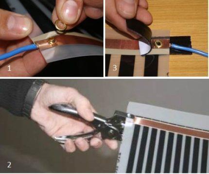 Подключение контактов к инфракрасному теплому полу