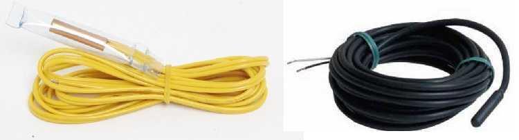 Датчики температуры теплого пола - небольшое устройство на конце длинного кабеля. Заводится в закрепленный на полу кусок трубы, который расположен между нагревательными элементами