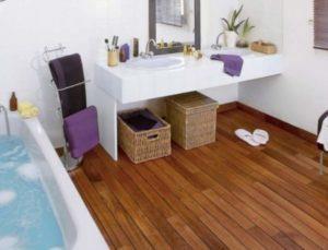 Дизайн ванной с паркетной доской