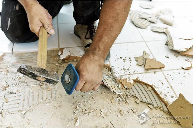 Демонтаж старого кафеля