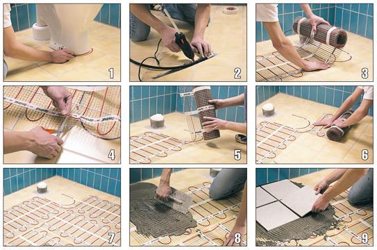 Укладка теплого электропола под плитку