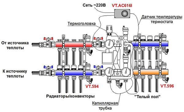 схема отопления с клпаном