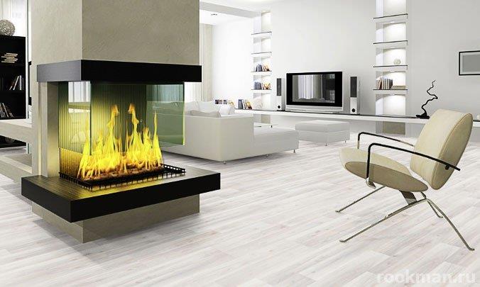 Интерьер гостиной с ламинатом груша белая в качестве напольного покрытия