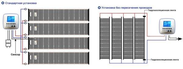 Две схемы подключения пленочного теплого пола