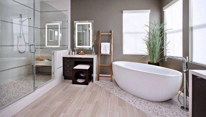 Применение ламината в интерьере ванной комнаты