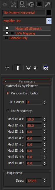 Настройки модификатора Material by Element