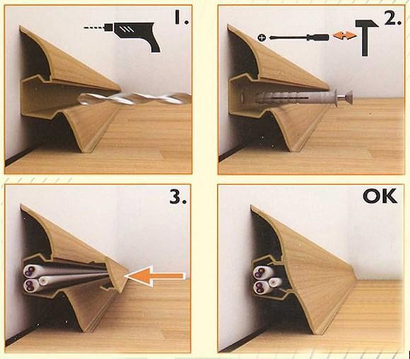 В большинстве случаев пластиковый плинтус крепится непосредственно к стенам, а не к полу, так как он очень гибкий и предназначен для того, чтобы скрыть кривизну стены