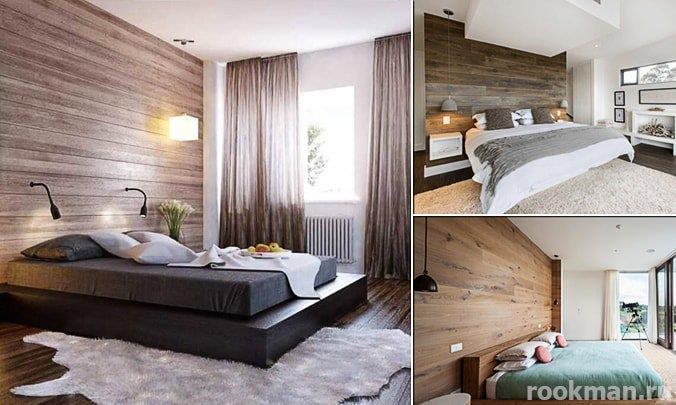 Ламинат на стене в интерьере спальни